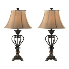 "Iron Caged 34"" H Table Lamp with Bell Shade (Set of 4)"
