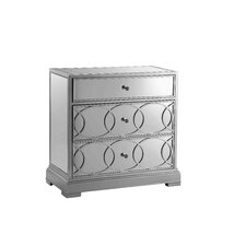 Emporia Side Table Mirrored Storage Cabinet