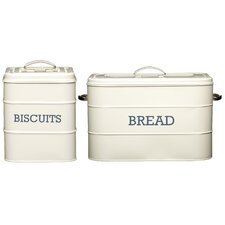 Living Nostalgia 2 Piece Biscuit and Bread Storage Set