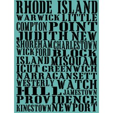 Rhode Island Towns of Rhode Island Textual Art on Wrapped Canvas