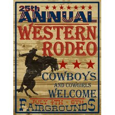 Man Cave 25th Annual Western Rodeo Vintage Advertisement on Wrapped Canvas