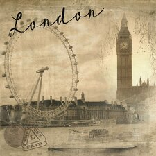 World Traveler London Vintage Graphic Art on Wrapped Canvas