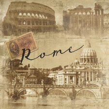 World Traveler Rome Vintage Photographic Print on Wrapped Canvas