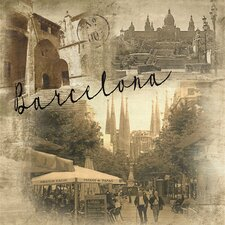 World Traveler Barcelona Vintage Photographic Print on Wrapped Canvas