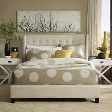 Mackenna Upholstered Wingback Bed with Nail-Head Trim