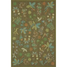 Grove Twig Green Floral Area Rug