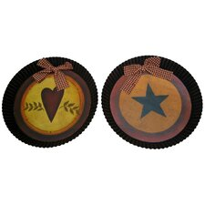2 Piece Fluted Country Heart and Star Hanging Pan Wall Décor Set