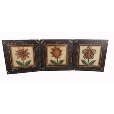 3 Piece Fabric Woven Daisy Flower Hanging Plaques Wall Decor Set