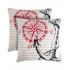 Anchor Away Cotton Throw Pillow (Set of 2)