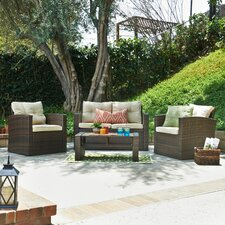 Roatan 4 Piece Seating Group in Dark Brown with Cushions