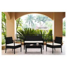4 Piece Wicker Seating Group with Cushions