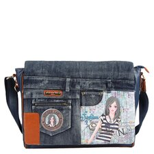 Wanda Denim Dolly Print Computer Messenger Bag