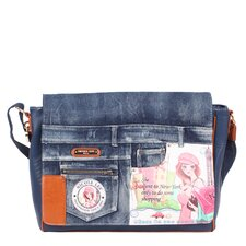 Shopping Girl Denim Print Computer Messenger Bag
