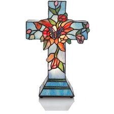 "Flowers and Vines Cross 13.3"" H Table Lamp with Novelty Shade"