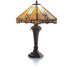 "Mission Style Stained Glass 30"" H Table Lamp with Empire Shade"