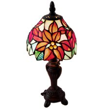 "Stained Glass Poinsettia 12.5"" H Table Lamp with Bowl Shade"
