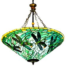 Stained Glass 3 Light Inverted Pendant