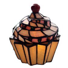 """Stained Glass Cupcake 6.5"""" H Table Lamp with Novelty Shade"""