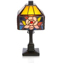 "Stained Glass Butterfly Rose 11.75"" H Table Lamp with Square Shade"