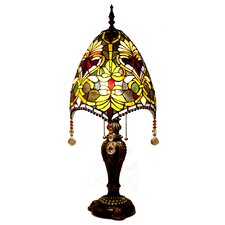 "Stained Glass Beaded Brianne's 30.5"" H Table Lamp with Bowl Shade"