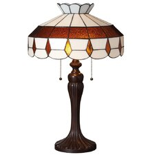 "Downton Abbey 24"" H Stained Glass Table Lamp with Bowl Shade"