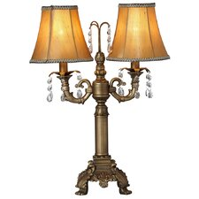 """Downton Abbey 21.50"""" H Two-Arm Crystal Glass Table Lamp with Bell Shade"""