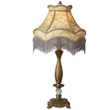 "Downton Abbey 30"" H Lace Fringe Table Lamp with Bell Shade"