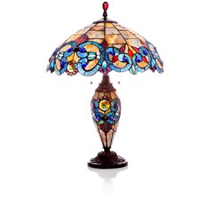 "Victorian Stained Glass Double Lit 26"" H Table Lamp with Bowl Shade"