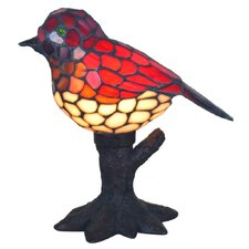 "Song Bird Stained Glass 10"" H Table Lamp"