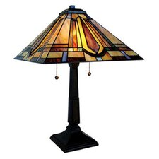 "Stained Glass Mission Style 24"" H Table Lamp with Empire Shade"