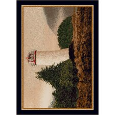 Fall Seasonal Brown/White Cape Lighthouse Area Rug