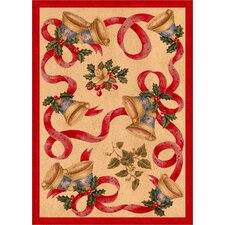 Winter Seasonal Holiday Bells and Bows Red/Beige Area Rug