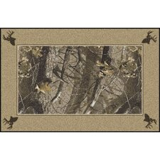 Realtree Hardwoods Solid Border Brown Area Rug