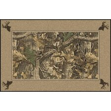 Realtree Timber Solid Border Brown Area Rug