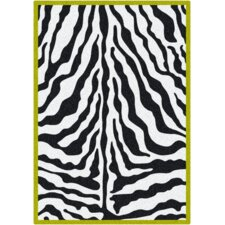 Zebra Glam Citrus Black/White Area Rug