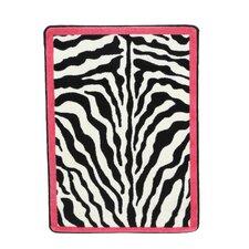 Zebra Glam Pink Passion Black/White Area Rug