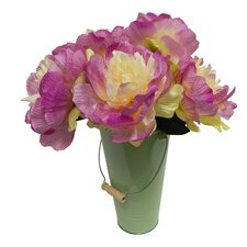 Faux Fresh Cut Peonies in a Garden Pail