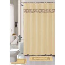 Greek Key 15 Piece Shower Curtain Set