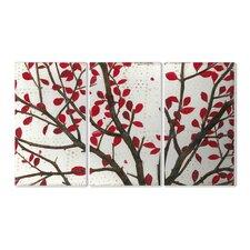 Crimson Leaves by Norman Wyatt Jr 3 Piece Graphic Art Set
