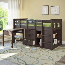 Madison Single Twin Loft Bed with Desk and Storage