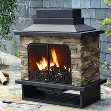 Felicia Steel Wood Outdoor Fireplace
