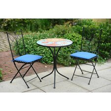 Poppy Mosaic 3 Piece Bistro Set with Cushions