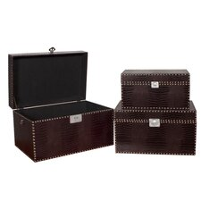 3 Piece Faux Crocodile Chest with Beaded Accents Set