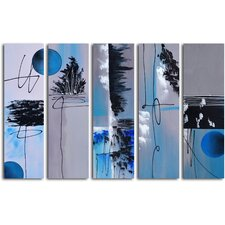 """Hand Painted """"Moon"""" 5 Piece on Canvas Set in Blue"""