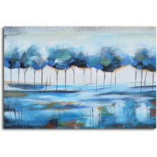 'True Reflections' Painting on Canvas in Blue