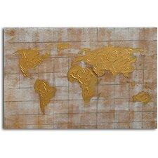 'Bronzed Pangea' Painting on Canvas