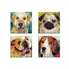 Art Dog Beagle by Sandy Doonan 4 Piece Wall Art on Wrapped Canvas Set