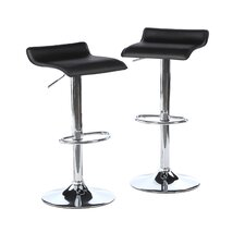 Backless Adjustable Height Swivel Bar Stool with Cushion (Set of 2)