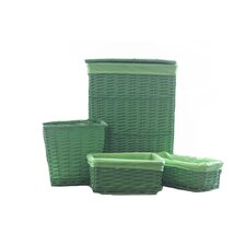 4 Piece Willow Lined Hamper and Storage Set