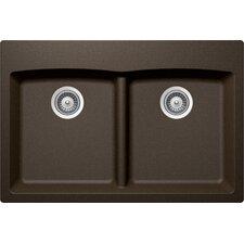 """Edo 33"""" x 19"""" Cristadur 50/50 Undermount Double Bowl Kitchen Sink"""